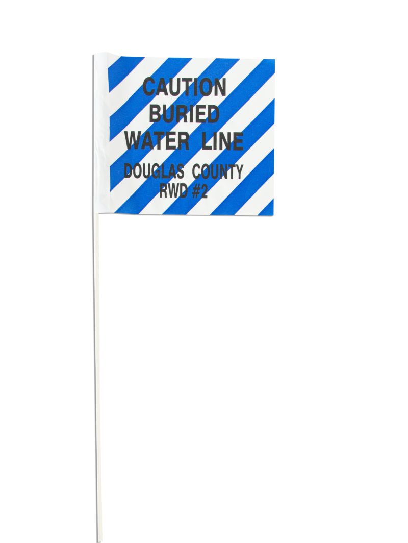 Blue and white striped flag with custom printing.